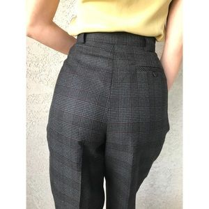 [vintage] ultra high waist plaid wool trousers